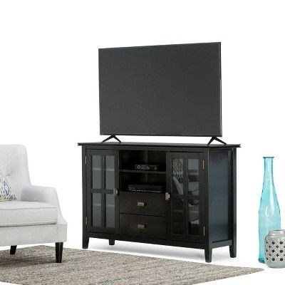 "Stratford Solid Wood Tall Tv Media Stand Black For Tvs Up To With Recent Ericka Tv Stands For Tvs Up To 42"" (View 9 of 20)"