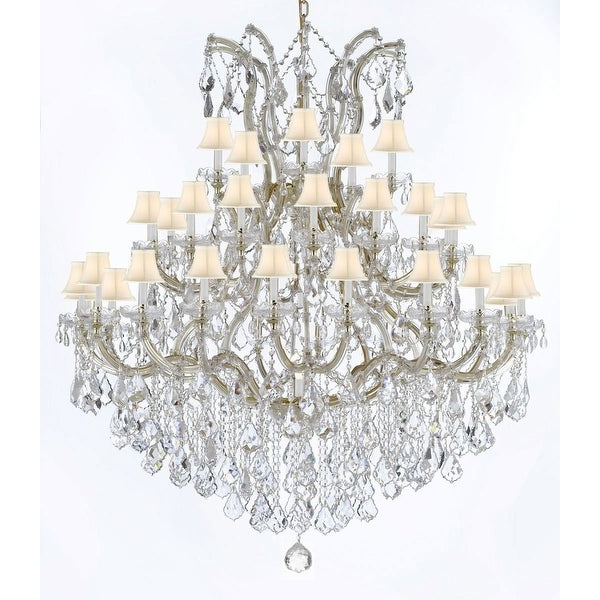 Swarovski Crystal Trimmed Maria Theresa Crystal Chandelier With White Shade With Regard To Favorite Thresa 5 Light Shaded Chandeliers (View 15 of 30)
