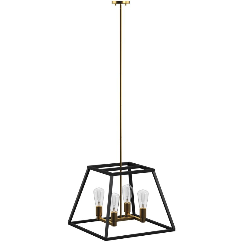 Tabit 5 Light Geometric Chandeliers Within Most Up To Date Shisler 4 Light Square/rectangle Chandelier (View 12 of 30)