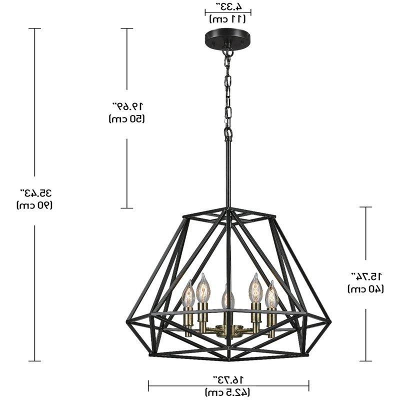 Tabit 5 Light Geometric Chandeliers Within Widely Used Tabit 5 Light Geometric Chandelier (Gallery 3 of 30)