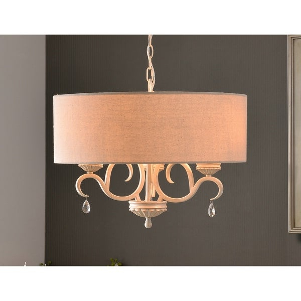 Tadwick 3 Light Single Drum Chandeliers Intended For Fashionable Nicola Weathered White 3 Light Drum Chandelier Design Craft (View 21 of 30)