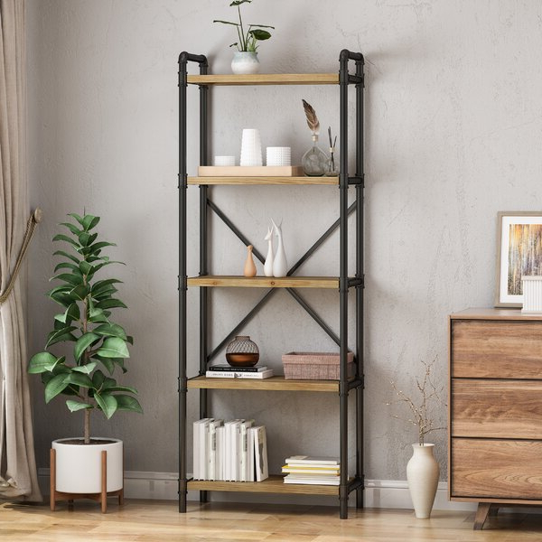 Thea Blondelle Library Bookcases Intended For 2019 Hawkinsville Iron 5 Shelf Etagere Bookcase17 Stories (View 14 of 20)