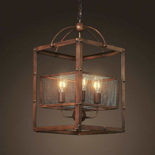 Thorne 4 Light Lantern Rectangle Pendants With Preferred Industrial Rectangle 4 Light Mesh Shade Dark Brown Kitchen Foyer Pendant  Light (Gallery 28 of 30)