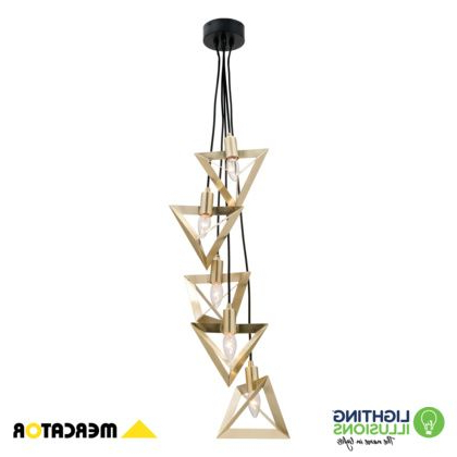 Thresa 5 Light Shaded Chandeliers Pertaining To Widely Used Theresa 5 Light Brushed Brass Geometric Pendant Light (Gallery 28 of 30)