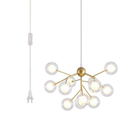 Trendy Asher 12 Light Sputnik Chandeliers Within Dellemade Dd00134 Plug In Sputnik Chandelier 12 Light Golden Pendant Light  With 16 Ft Cord Bulbs Included (Gallery 9 of 30)
