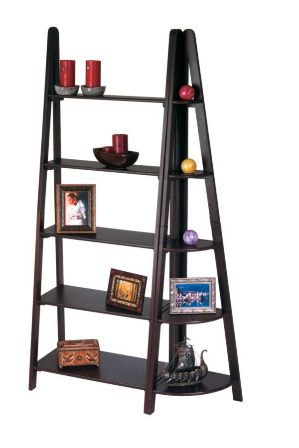 Trendy Bordelon Slatted Ladder Bookcases Intended For Espresso Bookcase W/corner Ladder Osp Es21 Es22 Bk (Gallery 20 of 20)