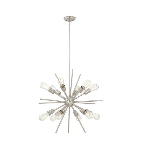 "Trendy Corona 12 Light Sputnik Chandeliers With Regard To Patriot Lighting® Oscar 27 1/2"" 12 Light Satin Nickel (Gallery 12 of 30)"