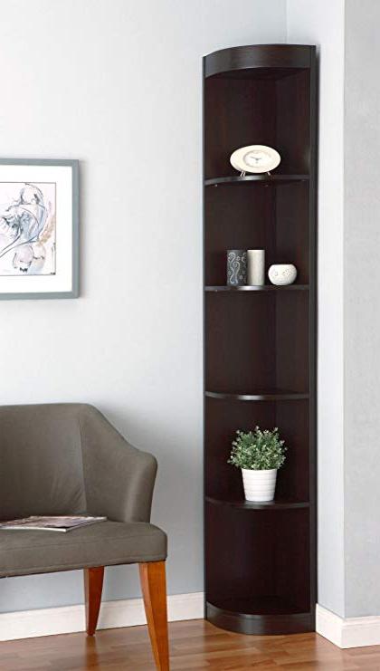 "Trendy Fuhrmann Corner Bookcases Regarding Amazon: Red Barrel Studio 77""h Fuhrmann Brown Wood (Gallery 3 of 20)"