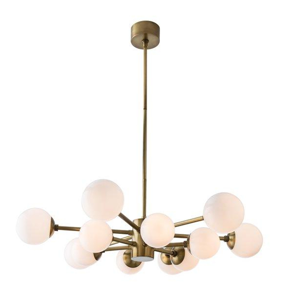 Trendy Karrington 12 Light Sputnik Opal Brass Chandelier Inside Vroman 12 Light Sputnik Chandeliers (View 10 of 30)