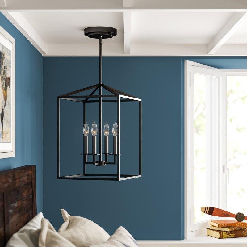 Trendy Odie 4 Light Lantern Square/rectangle Pendant Intended For Finnick 4 Light Foyer Pendants (View 26 of 30)