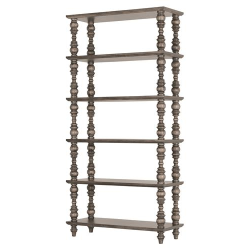 Trendy Parker Modern Etagere Bookcases In Luker Modern Classic 6 Shelf Turned Grey Wood Etagere Bookcase (Gallery 20 of 20)