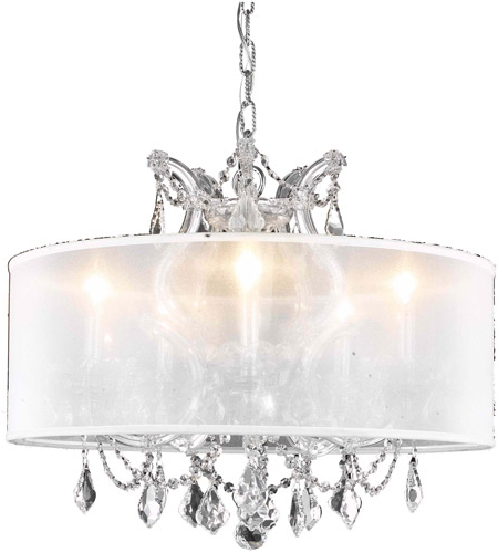 Trendy Thresa 5 Light Shaded Chandeliers Within Maria Theresa 6 Light 20 Inch Chrome Dining Chandelier Ceiling Light In  Clear, Swarovski Strass, Silver Shade (Gallery 19 of 30)