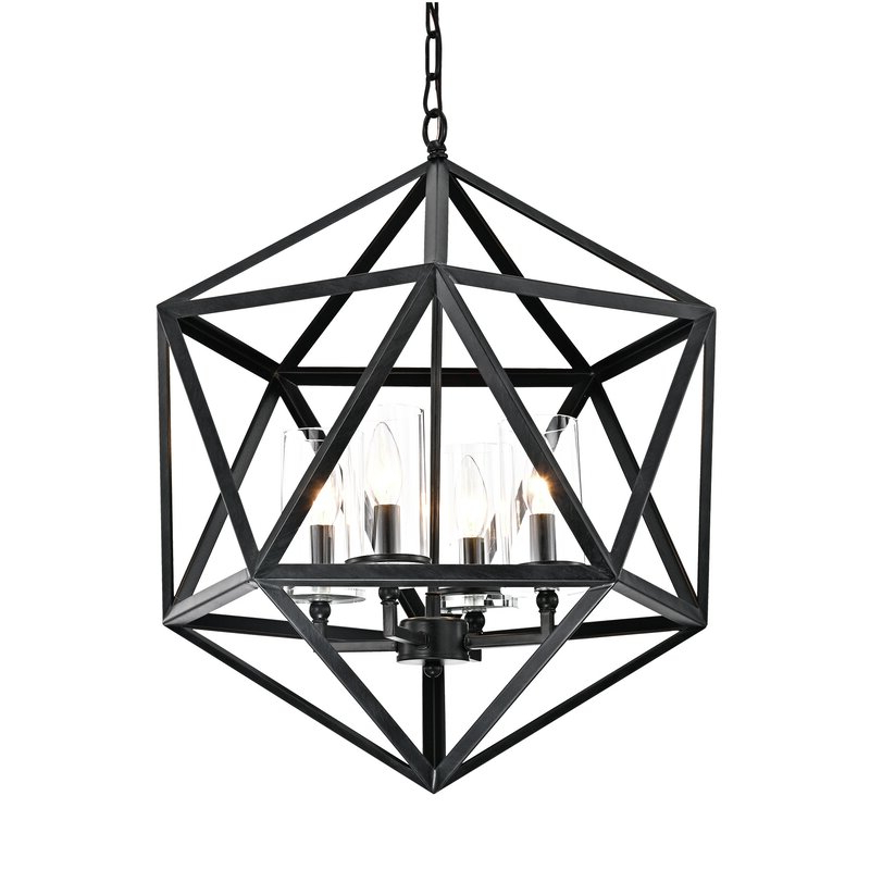 Venita 4 Light Geometric Chandelier Throughout Well Liked Tabit 5 Light Geometric Chandeliers (Gallery 10 of 30)