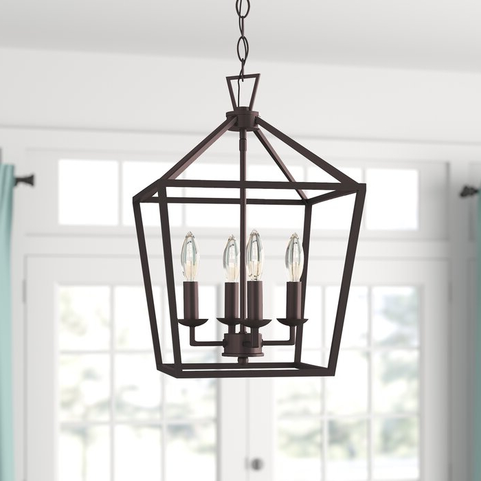 Von 4 Light Crystal Chandeliers Pertaining To Well Liked Carmen 4 Light Lantern Geometric Pendant (View 30 of 30)