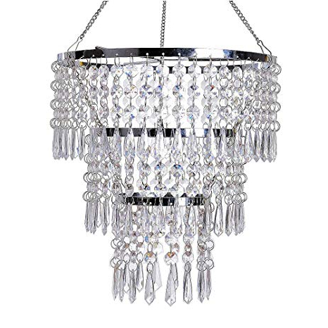 Von 4 Light Crystal Chandeliers Regarding Trendy Flavorthings 3 Tiers Fuax Crystal Acrylic Beaded Chandelier,diam (View 22 of 30)