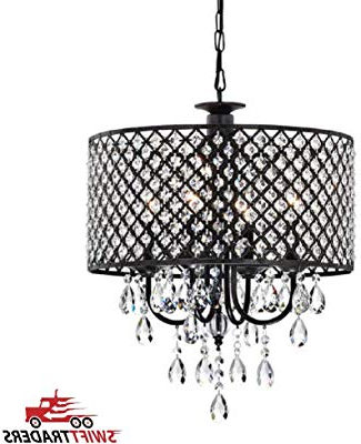 Von 4 Light Crystal Chandeliers With Regard To Best And Newest Edvivi Marya 4 Light Chrome Round Crystal Chandelier Ceiling (View 13 of 30)