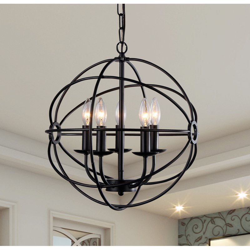 Waldron 5 Light Globe Chandeliers For Well Known Catskill 5 Light Globe Chandelier (View 25 of 30)