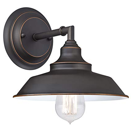 Well Known Alayna 4 Light Shaded Chandeliers Within Westinghouse Lighting 6343500 Indoor Wall Fixture, 1 Light Sconce, Oil  Rubbed Bronze/white (View 28 of 30)