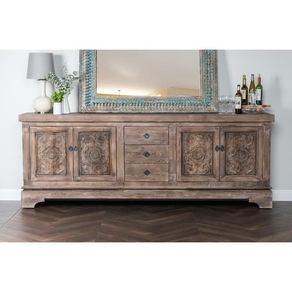 Well Known Allen Rustic Taupe Reclaimed Pine 106 Inch Sideboard Throughout Chalus Sideboards (View 20 of 20)
