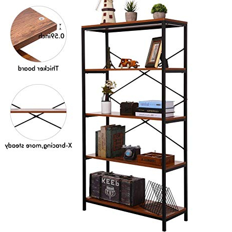 Well Known Amazon: Korie Rustic Bookshelf, 4 Tier Etagere Bookcases With Regard To Etagere Bookcases (View 6 of 20)