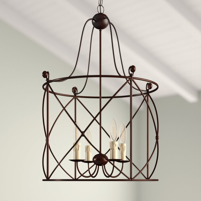 Well Known Aniyah 4 Light Lantern Drum Pendant For Nisbet 6 Light Lantern Geometric Pendants (View 18 of 30)