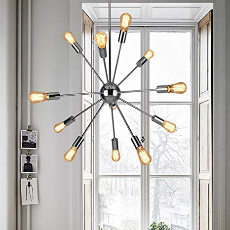 Well Known Asher 12 Light Sputnik Chandeliers For Sputnik Chandeliers 12 Lights Modern Pendant Lighting Chrome Finished  Ceiling Light Fixture, Ul Listed (View 30 of 30)