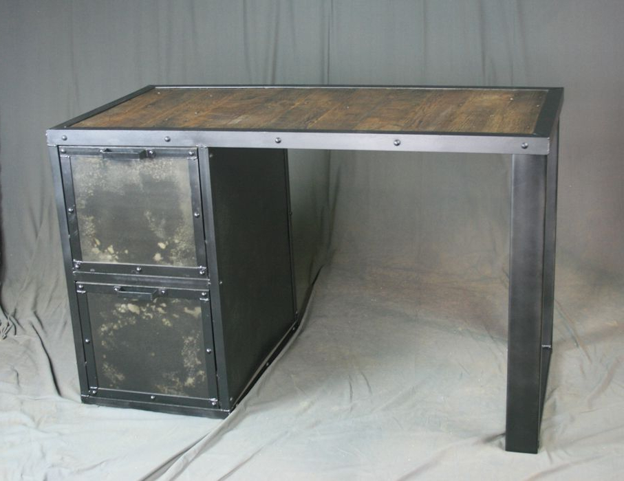 Well Known Buy A Custom Made Vintage Industrial Desk With File Cabinet For Adelbert Credenzas (View 20 of 20)
