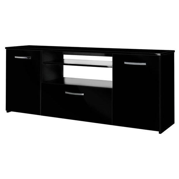 Well Known Buy Hygena Hayward 2 Door 1 Drawer Low Sideboard – Black At Regarding Gertrude Sideboards (View 17 of 20)