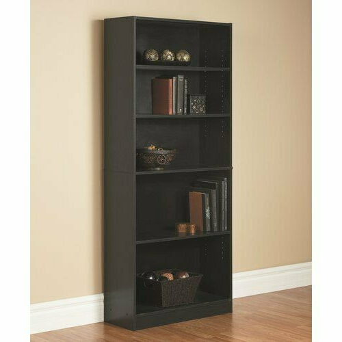 Well Known Cerrato Standard Bookcases Within Black 72 Standard Bookcase 5 Adjustable Shelf Home Office Wooden Bookshelf (View 9 of 20)