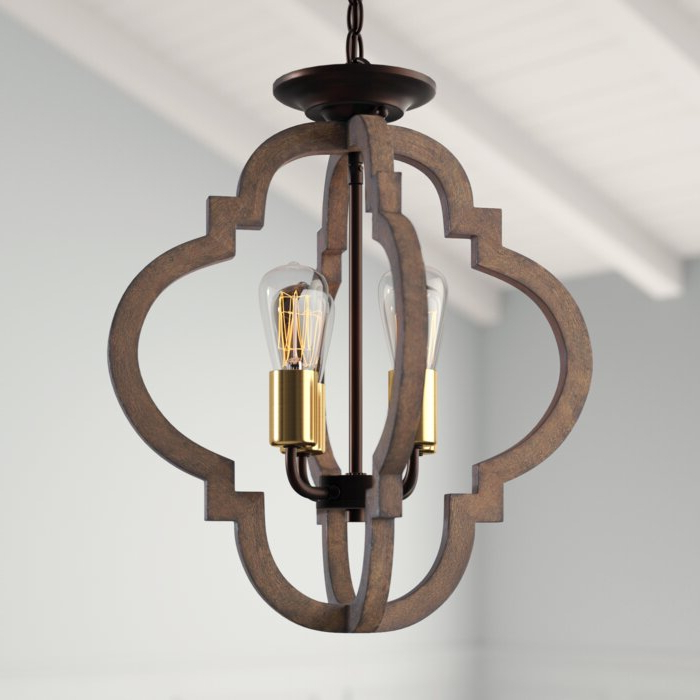 Well Known Delon 4 Light Square Chandeliers Within Kaycee 4 Light Geometric Chandelier (View 29 of 30)