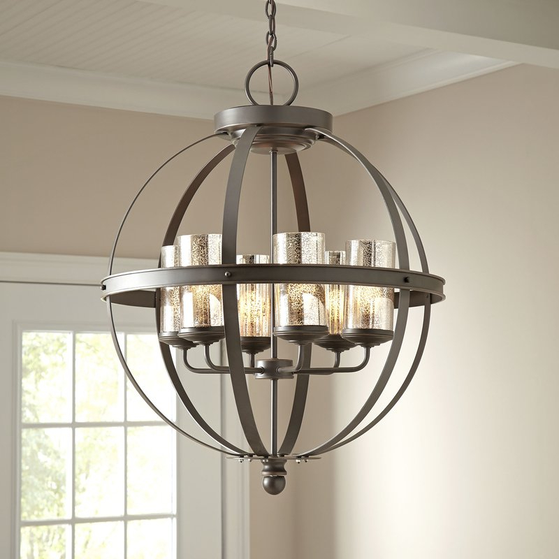 Well Known Donna 4 Light Globe Chandeliers In Donna 6 Light Globe Chandelier (View 27 of 30)