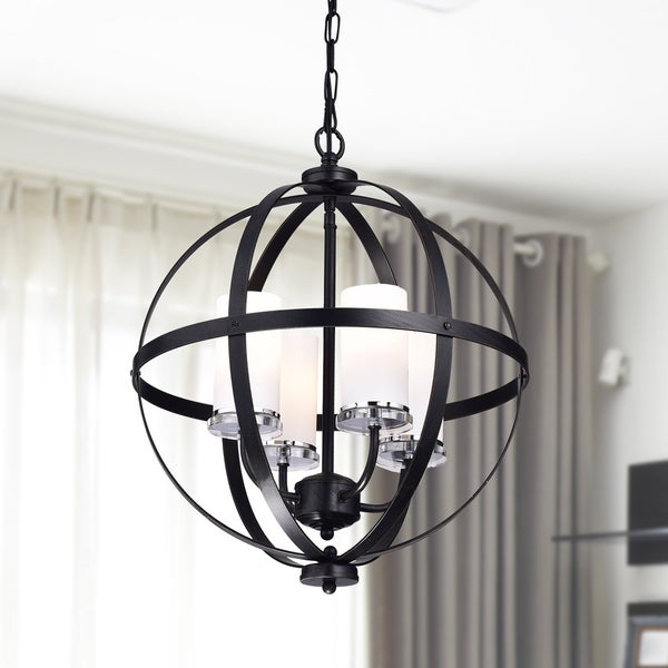 Well Known Donna 6 Light Globe Chandeliers Inside Shop Benita Antique Black Iron Orb Chandelier With Glass (View 14 of 30)