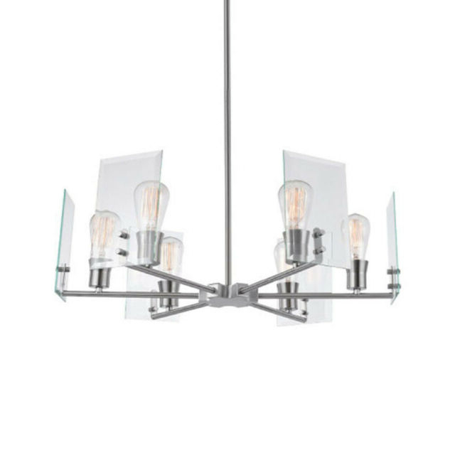 "Well Known Globe Electric 60369 Cleve 6 Light 25"" Wide Chandelier – Brushed Nickel In Joon 6 Light Globe Chandeliers (View 29 of 30)"