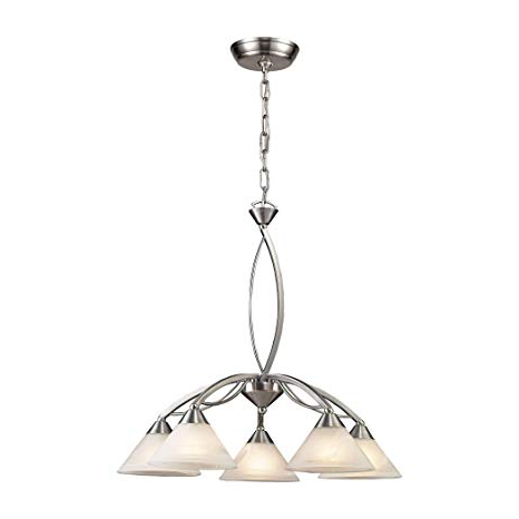 "Well Known Harlan 5 Light Drum Chandeliers Within Bidwell Lighting Harlan Ii 5 Light 25"" Chandelier – Satin (View 14 of 30)"