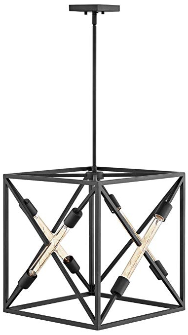 "Well Known Hinkley Hewitt 18"" Wide Satin Black 4 Light Pendant Intended For Hewitt 4 Light Square Chandeliers (View 14 of 30)"