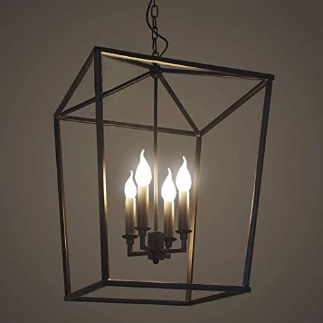 "Well Known Kenedy 9 Light Candle Style Chandeliers Intended For 18"" Lighting 4 Lights Foyer Pendant With Lantern Style Cage (View 11 of 30)"
