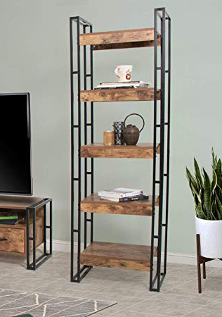 Well Known Living Essentials 5 Tier Industrial Bookshelf, Urban Line Wood And Metal Vintage Etagere Bookcases Display & Storage Furniture For Home Office In Etagere Bookcases (View 14 of 20)