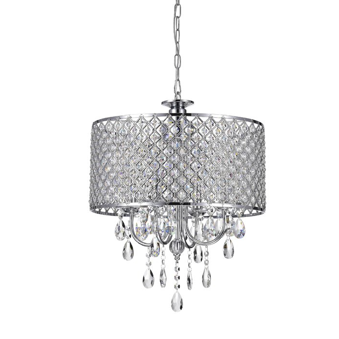 Well Known Mckamey 4 Light Crystal Chandeliers Inside Aurore 4 Light Crystal Chandelier (View 27 of 30)