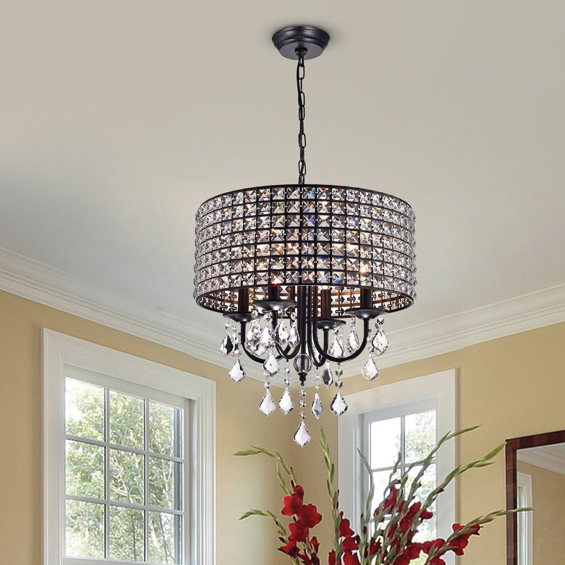 Well Known Mckamey 4 Light Crystal Chandeliers Within Albano 4 Light Crystal Chandelier (View 29 of 30)