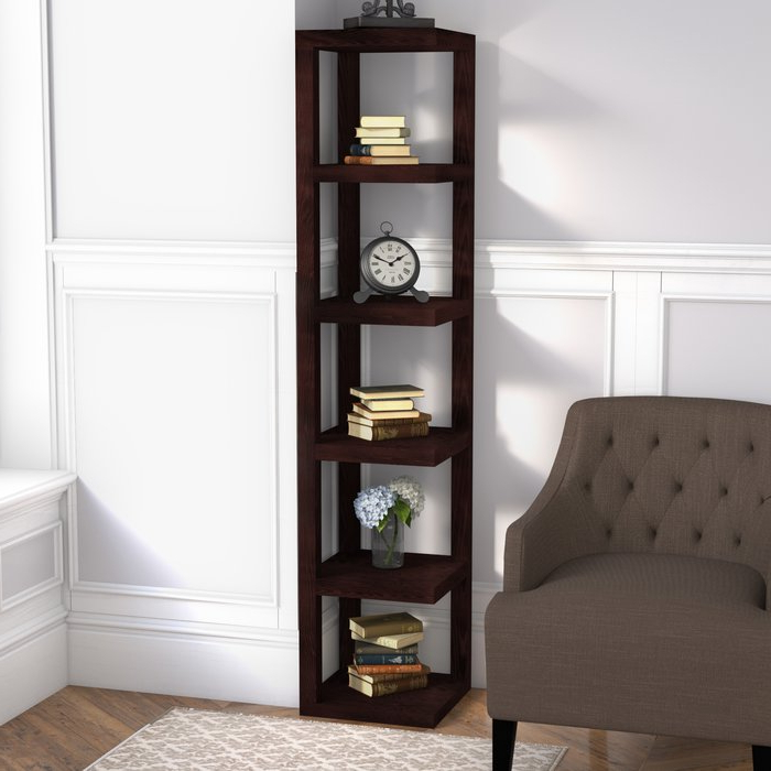 Well Known Mcloughlin Corner Bookcase With Regard To Mari Wood Corner Bookcases (View 18 of 20)