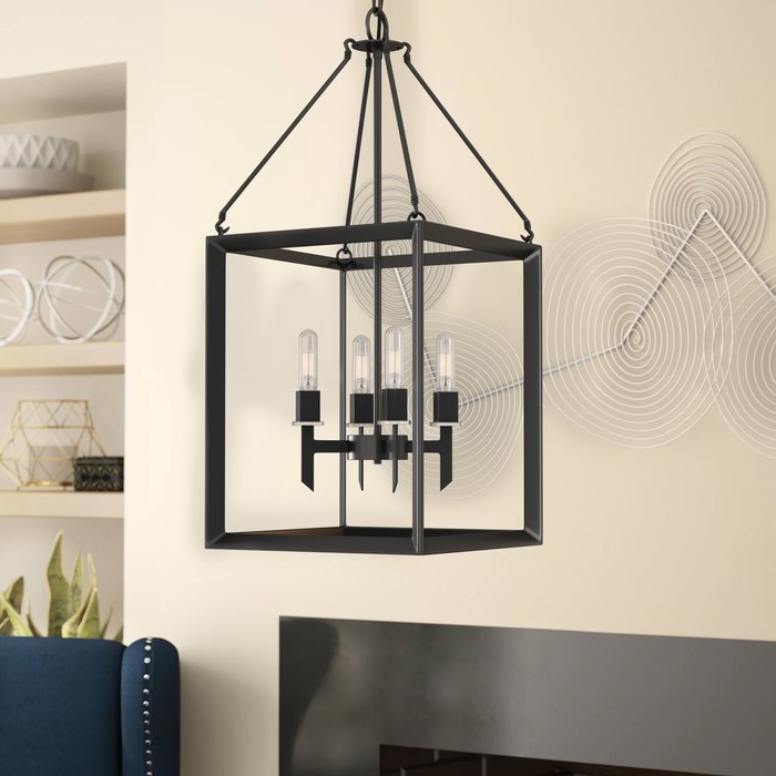 Well Known Odie 4 Light Lantern Square Pendants Within Haught 4 Light Lantern Square Pendant (View 26 of 30)