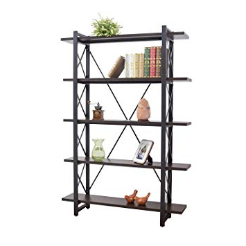 Well Known Rech 4 Tier Etagere Bookcases Throughout Grace Tech 5 Tier Industrial Bookshelf Etagere Bookcase Wood And Metal Book  Shelves Furniture Black (View 18 of 20)