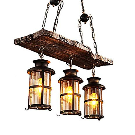 Well Liked 3 Light Lantern Cylinder Pendants Within Jinyuze Industrial Rustic Wood Beam Antique Black Metal (View 29 of 30)