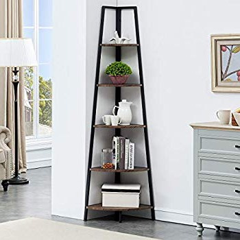 Well Liked Amazon: O&k Furniture 5 Shelf Industrial Corner Bookcase Intended For Mari Wood Corner Bookcases (View 15 of 20)