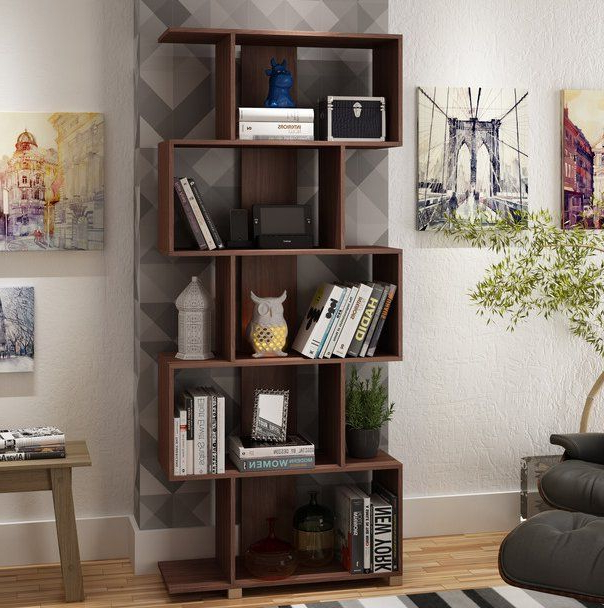 Well Liked Ansley Geometric Bookcases Pertaining To Angelica Geometric Bookcase In (View 12 of 20)