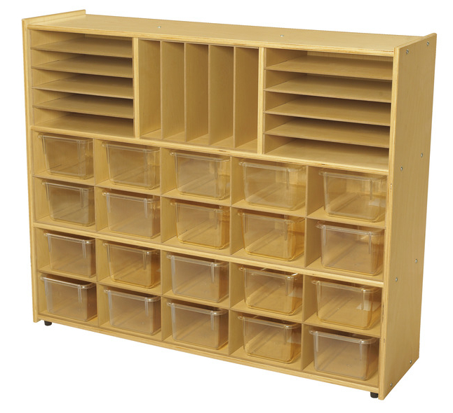 Well Liked Classroom Cubby Standard Bookcases With Childcraft Abc Furnishings Storage Unit, 3 Shelves, Cubbies With Inserts, 20 Clear Trays, 48 X 13 X 40 Inches (View 15 of 20)