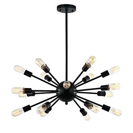 Well Liked Defreitas 18 Light Sputnik Chandeliers Intended For Light Society Sputnik 18 Light Chandelier Pendant, Matte Black, Mid Century Modern Industrial Starburst Style Lighting Fixture (ls C115 Blk) (View 5 of 30)