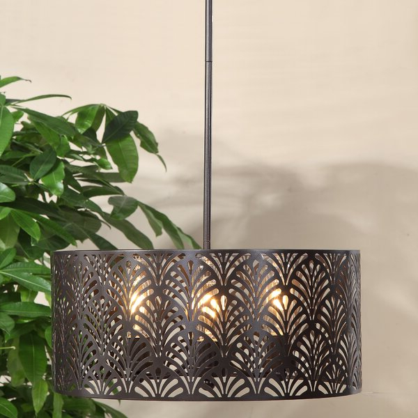 Well Liked Destrey 3 Light Lantern Square/rectangle Pendants Throughout Walston 3 Light Drum Chandelier (View 21 of 30)