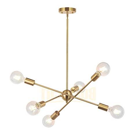 Well Liked Johanne 6 Light Sputnik Chandeliers Pertaining To Bonlicht Modern Sputnik Chandelier Lighting 6 Lights Brushed Brass  Chandelier Mid Century Pendant Lighting Gold Ceiling Light Fixture For  Hallway Bar (View 28 of 30)