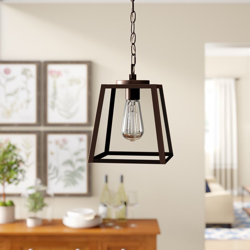 Well Liked Louanne 1 Light Lantern Geometric Pendants Throughout Louanne 1 Light Lantern Geometric Pendant (View 29 of 30)